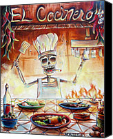 Skulls Canvas Prints - El Cocinero Canvas Print by Heather Calderon