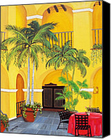 Yellow Building Canvas Prints - El Convento in Old San Juan Canvas Print by Gloria E Barreto-Rodriguez