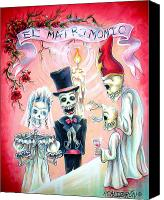Skulls Canvas Prints - El Matrimonio Canvas Print by Heather Calderon