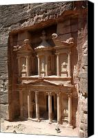 Horse Standing Canvas Prints - Elaborate Sandstone Temple Or Tomb Canvas Print by Luis Marden