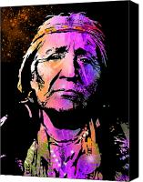Tribe Canvas Prints - Elderly Hupa Woman Canvas Print by Paul Sachtleben