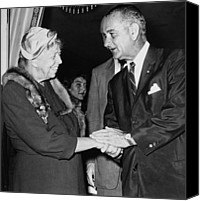 First Lady Canvas Prints - Eleanor Roosevelt Shaking Hands Canvas Print by Everett