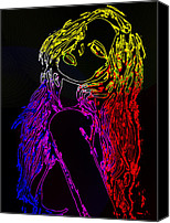 Pop Art Digital Art Canvas Prints - Electric Girl Canvas Print by Stefan Kuhn
