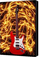 Electric Guitar Canvas Prints - Electric guitar with sparks Canvas Print by Garry Gay
