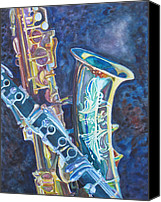 Saxaphone Painting Canvas Prints - Electric Reeds Canvas Print by Jenny Armitage