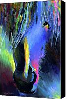 Horse Drawings Canvas Prints - electric Stallion horse painting Canvas Print by Svetlana Novikova
