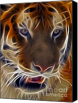 Abstract Cat Portrait Canvas Prints - Electric Tiger Canvas Print by Susan Candelario