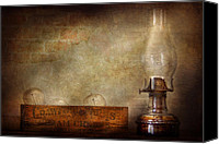 Oil Lamp Canvas Prints - Electrician - Advancements in lighting  Canvas Print by Mike Savad
