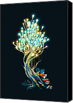 Serene Canvas Prints - ElectriciTree Canvas Print by Budi Satria Kwan