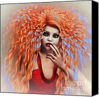 Curls Canvas Prints - Electricity Canvas Print by Jutta Maria Pusl