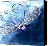 Dragonfly Art Canvas Prints - Electrified Dragonfly Canvas Print by J Vincent Scarpace