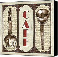 Flatware Canvas Prints - Elegant Bistro 2 Canvas Print by Debbie DeWitt
