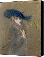 Glove Painting Canvas Prints - Elegant Lady Canvas Print by Paul Cesar Helleu