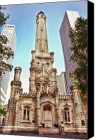 Old Chicago Water Tower Canvas Prints - Elegant old Water Tower   Canvas Print by Linda Matlow