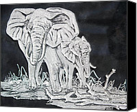 Animal Glass Art Canvas Prints - Elephant and Calf Canvas Print by Akoko Okeyo