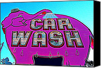 Car Wash Canvas Prints - Elephant Car Wash Boost Canvas Print by Randall Weidner