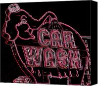 Car Wash Canvas Prints - Elephant Car Wash Neon Canvas Print by Randall Weidner