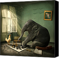 Grey Canvas Prints - Elephant Chess Canvas Print by Ethiriel  Photography