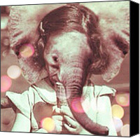 Teg Canvas Prints - Elephant Girl Canvas Print by Casi Wonderland