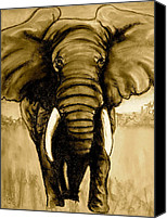 Elephant Pastels Canvas Prints - Elephant II sepia Canvas Print by Pete Maier