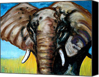Elephant Pastels Canvas Prints - Elephant Canvas Print by Pete Maier