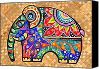 Greeting Cards Tapestries - Textiles Canvas Prints - Elephant  Canvas Print by Samadhi Rajakarunanayake