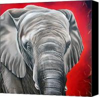 Big Painting Canvas Prints - Elephant six of eight Canvas Print by Ilse Kleyn
