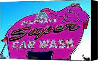 Car Wash Canvas Prints - Elephant Super Car Wash Boost Canvas Print by Randall Weidner