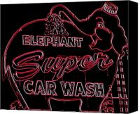 Car Wash Canvas Prints - Elephant Super Car Wash Neon Canvas Print by Randall Weidner
