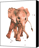 Baby Elephant Canvas Prints - Elephant Sway Canvas Print by Alison Fennell