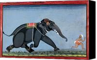Elephant Running Canvas Prints - ELEPHANT & TRAINER, c1750 Canvas Print by Granger