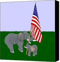 American Flag Pastels Canvas Prints - Elephants and Flag Canvas Print by Pharris Art