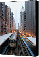 Public Transportation Canvas Prints - Elevated Commuter Train In Chicago Loop Canvas Print by Photo by John Crouch