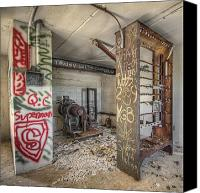 Eerie Canvas Prints - Elevator Motor in Decay Canvas Print by Noah Katz