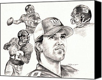 Football Drawings Canvas Prints - Eli Manning Canvas Print by Kathleen Kelly Thompson