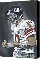 Sports Art Painting Canvas Prints - Eli Manning Super Bowl MVP Canvas Print by David Courson