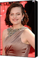 Nokia Theatre Canvas Prints - Elisabeth Moss Wearing A Reem Acra Gown Canvas Print by Everett