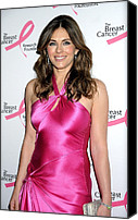 Satin Dress Canvas Prints - Elizabeth Hurley At Arrivals For Hot Canvas Print by Everett