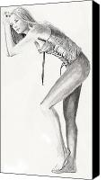 Life Drawing Drawings Canvas Prints - Elizabeth Canvas Print by Michael McKenzie