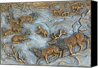 Bronze Reliefs Canvas Prints - Elk and Bobcat in Winter Canvas Print by Dawn Senior-Trask