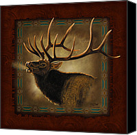 Montana Canvas Prints - Elk Lodge Canvas Print by JQ Licensing