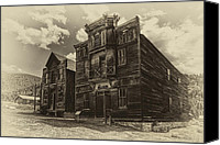 Pioneers Canvas Prints - Elkhorn Ghost Town Gothic Public Hall Canvas Print by Daniel Hagerman