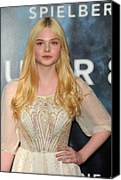 Cream Dress Canvas Prints - Elle Fanning At Arrivals For Super 8 Canvas Print by Everett