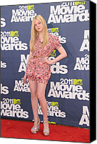 Mtv Canvas Prints - Elle Fanning Wearing A D&g Outfit Canvas Print by Everett
