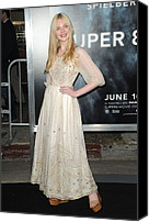 Cream Dress Canvas Prints - Elle Fanning Wearing A Vintage Dress Canvas Print by Everett