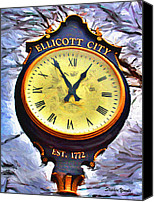 Ellicott Canvas Prints - Ellicott City Clock Canvas Print by Stephen Younts