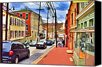 Ellicott Canvas Prints - Ellicott City Sidewalk Canvas Print by Stephen Younts