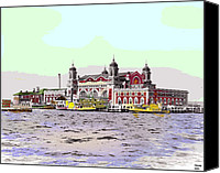 City Island Mixed Media Canvas Prints - Ellis Island Canvas Print by Charles Shoup