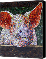 Mosaic Glass Art Canvas Prints - Elmer Canvas Print by Barbara Benson Keith