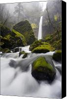 Waterfall Canvas Prints - Elowah Canvas Print by Mike  Dawson